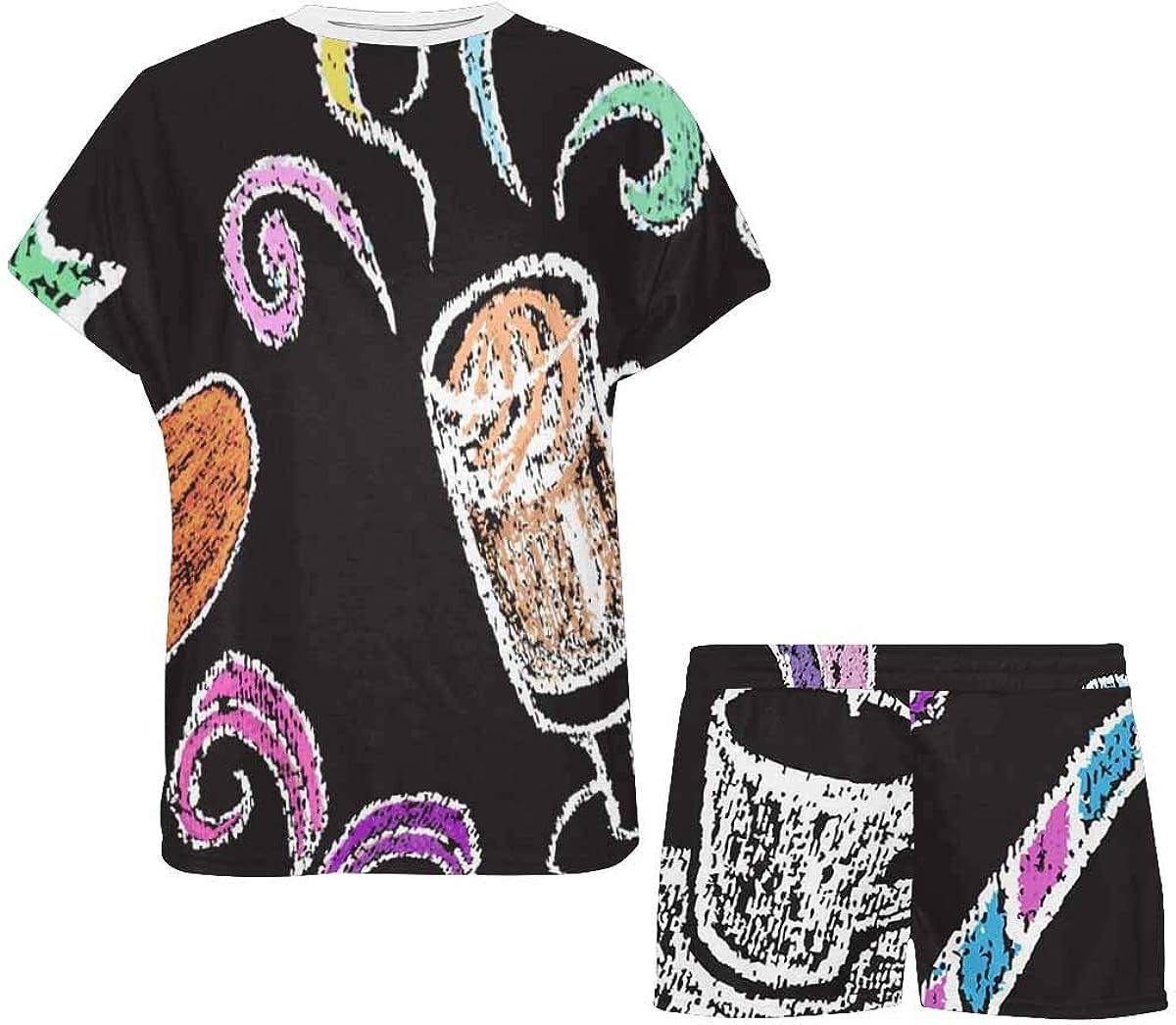 INTERESTPRINT Coffee Pattern Colorful Women's Lightweight Pajama Set, Short Summer Pjs