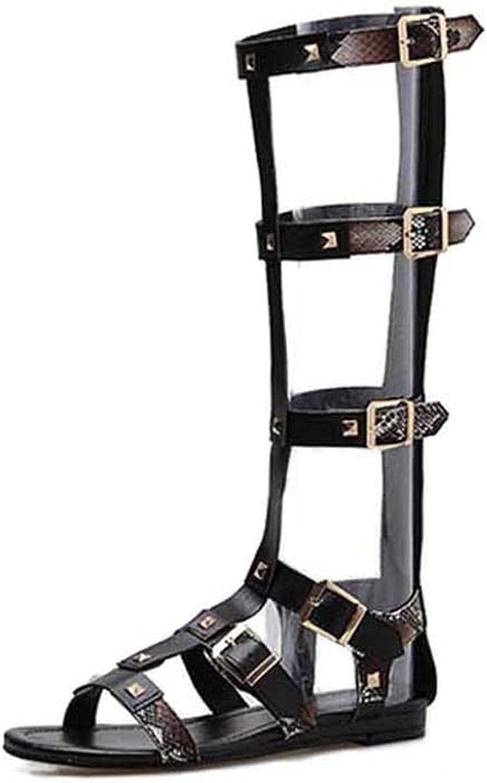 RAINIE002 Women Gladiator Snakeskin Grain Sandals Rivet Zipper Open Toe Buckle Strap Flat Heel Sandals Leather shoes