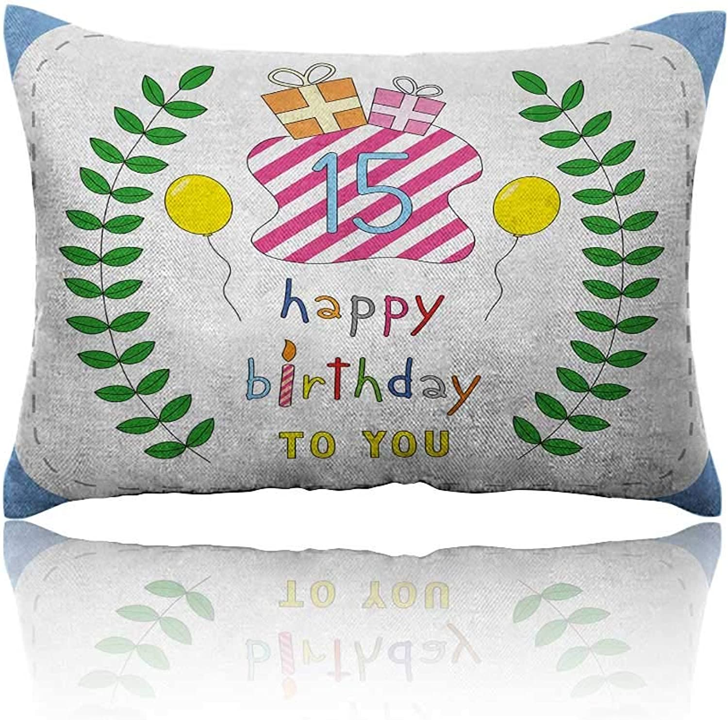 Anyangeight 15th Birthday Small Pillowcase Cute Sweet Cartoon Style Composition with Branches and Surprise Balloons Zipper Pillowcase 20 x26 Multicolor