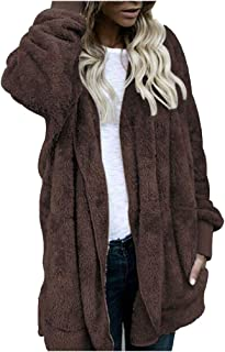 HKDGID Women Winter Leopard Printed Jacket New Wind Long Coats Parka Outerwear Cardigan Long Sleeve Casual Loose Fluffy Outwear Tops