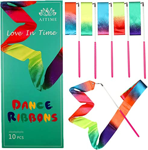 AITIME 10 Pieces 2 Meters Gym Gymnastics Dance Ribbons,Rainbow Dancer Ribbons with Twirling Wands for Kids Dancing,CE...