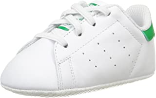 adidas Baby Boys' Stan Smith Crib Shoes, Footwear White/Footwear White/Green, 18-24 Months (18-24 Months)