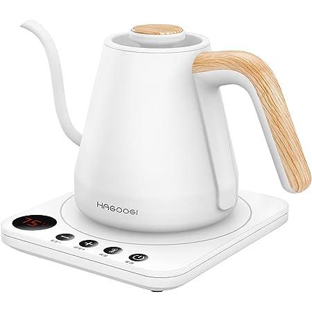 HAGOOGI (ハゴオギ ) 電気ケトル コーヒー 0.8L ドリップ ケトル 1200W 温度設定(1℃単位)/保温機能/空焚き防止 細口 電気ポット 湯沸かしポットステンレス ホワイト