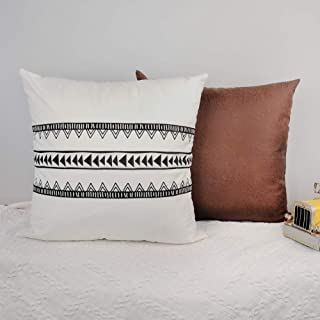 CZHO Pack of 2, Boho Decorative Throw Pillow Covers for Couch, Sofa or Bed, Soft Modern Brown Faux Leather Pillow Cases, Rustic Geometric Pillow Shell (18 x18 Inch, Stripe)