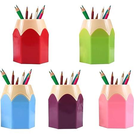 pot a crayon,Assortd Couleur Stylo Vase Pot,Lot de 5 pots à crayons créatifs en forme de tête de crayon - Pour les fournitures de bureau, les pinceaux de maquillage, comme petits vases