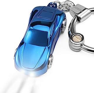 Key Chain Flashlight, Jobon Zinc Alloy Car Keychain with 2 Modes LED Light, Key Rings for Men, Women, Car Decorations, Ide...