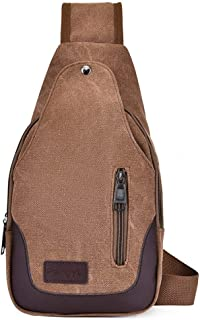 DIEBELLAU Bag New Men's Chest Bag Canvas Bag Casual Simple Shoulder Bag Chest Small Backpack Casual Pockets (Color : Red)