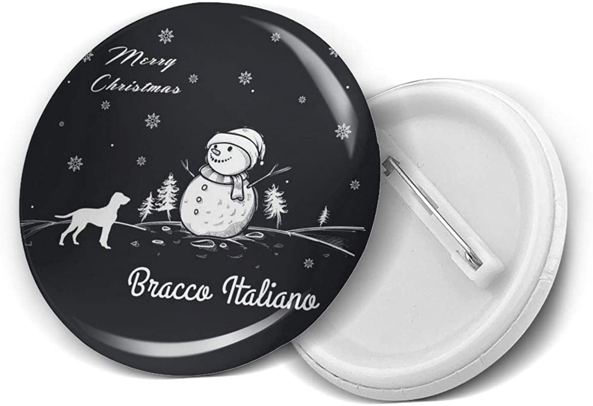 Bracco Italiano Merry Christmas Dog Directly managed store Winter Brooch Max 49% OFF Round Snowman