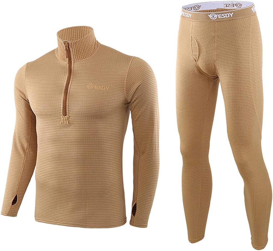 Men Winter Thermal Underwear,Fleece Sweat Thermo Underwear Tight Fitness Camouflage Tracksuit,Riding Pants Underwear