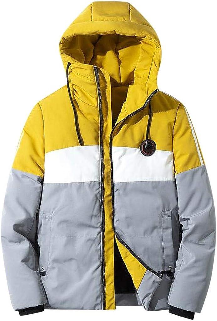 Landscap Mens Winter Hoodie Coats Color Block Warm Jacket Packable Windproof Thicken Parkas Quality Puffer Coat