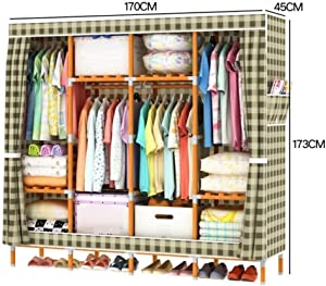 YSJ LTD Fashion - Wardrobe Portable Wardrobe Storage Solid Wood Oxford Cloth Closet Organizer Storage with Cover Moistureproof and Waterproof Large Combined Wardrobe (Color : F, Size : 6849 inch)