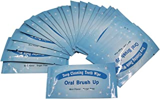 50pcs Finger Teeth Wipes Oral Brush Ups Disposable Dental Deeping Cleaning Fresh Breath Mint Flavour