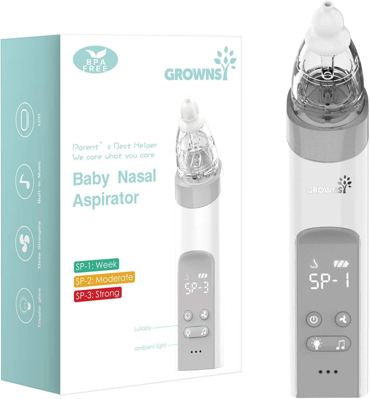 avec fonction apaisante musique et lumi/ère Nettoyeur de nez pour b/éb/é rechargeable Aspirateur nasal pour b/éb/é Sucker de nez de b/éb/é Booger Sucker automatique pour nourrissons