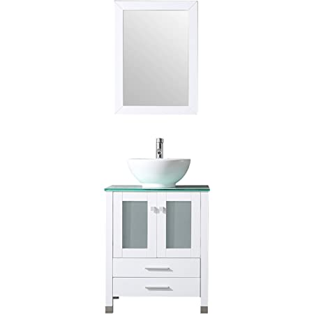 Bathjoy 24 White Wood Bathroom Vanity Cabinet Round Bowl Ceramic Vessel Sink Combo Countertop Sink Set Faucet Drain W Mirror Amazon Com