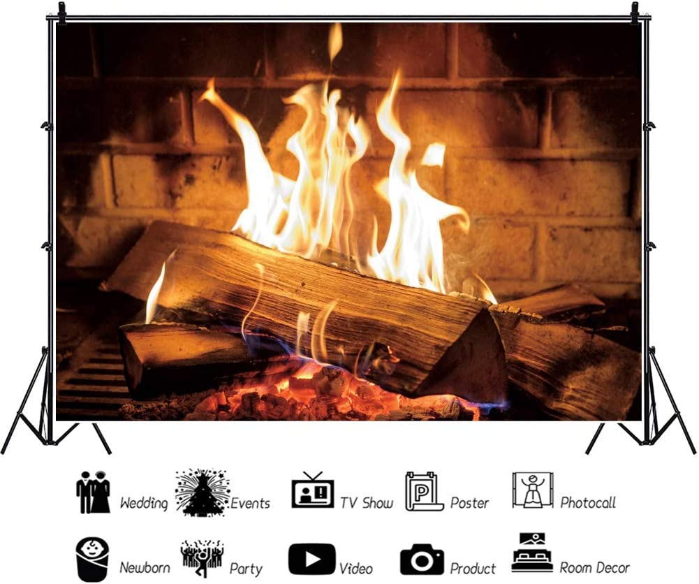 CSFOTO 12x8ft Fire Backdrop Raging Dancing Fire Flame Burning Firewoods Fireplace Fire Art Party Camping Bonfire Party Background for Photography Adults Kids Portrait Studio Props