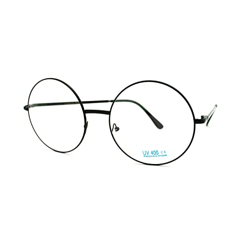 aa007ade0d Super Oversized Round Circle Frame Clear Lens Glasses Black