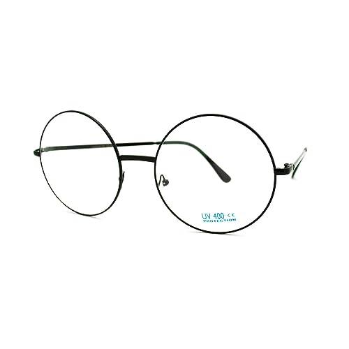 cf3ed6f4862 Super Oversized Round Circle Frame Clear Lens Glasses Black