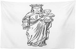 Darkchocl Jesus Merry Christmas Tapestry, Decorative Tapestry Virgin Mary Tattoo Art Symbol Statue Mary Religion Virgin Baby BlackFor Room Wall Hanging Tapestry 30 L x 45 W Virgin Mary Tattoo 01