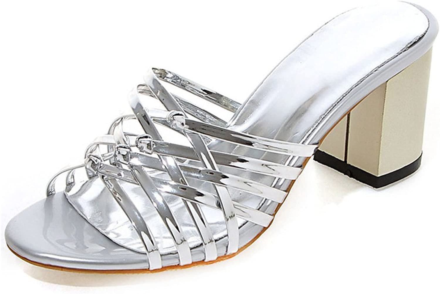 GenePeg Wedge Sandals for Women 2018 Open Toe High Heels Slip-On Patent Leather Heeled shoes