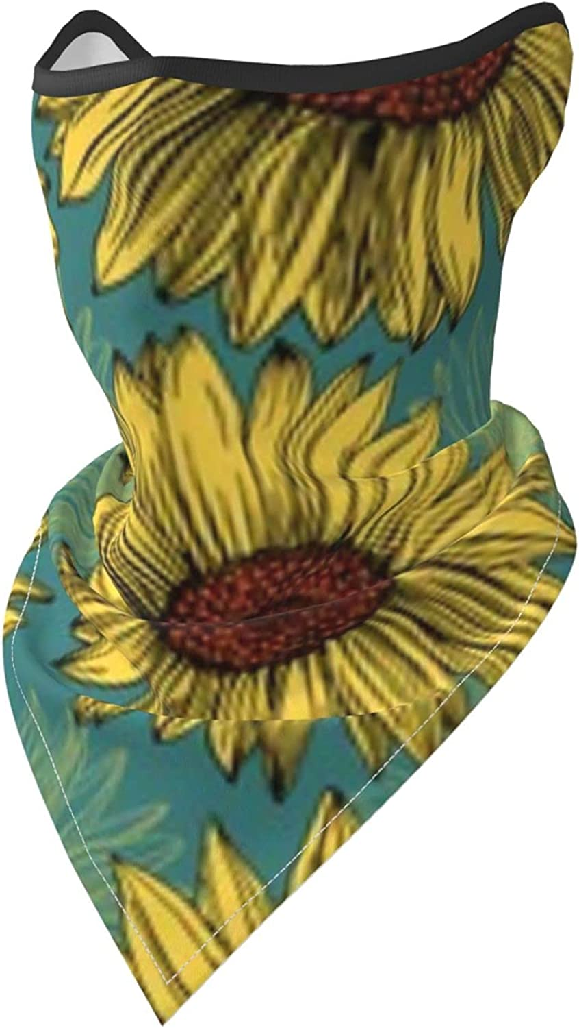 Sunflowers on Mint Blue Background Breathable Bandana Face Mask Neck Gaiter Windproof Sports Mask Scarf Headwear for Men Women Outdoor Hiking Cycling Running Motorcycling