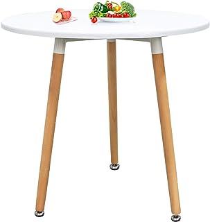 Table ronde avec pieds Salle à Manger Scandinave Table de Cuisine Blanc Diamètre 60x70 CM