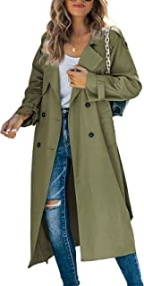 Ladies Trench Coat Womens Double Breasted Coat Long Windbreaker Lightweight Autumn Winter Spring Jacket Outerwear