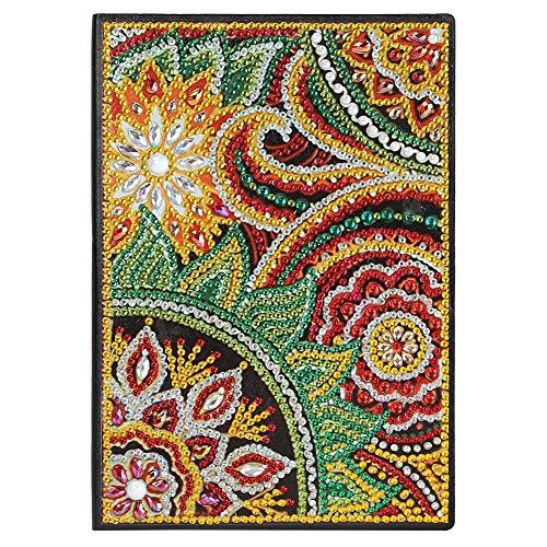 Cubierta de pintura de diamante, para manualidades, color parcialmente perforado, cristales de forma especial, 50 páginas, inalámbrico, A5, diario, set de regalo de cumpleaños (Mandala BY041)