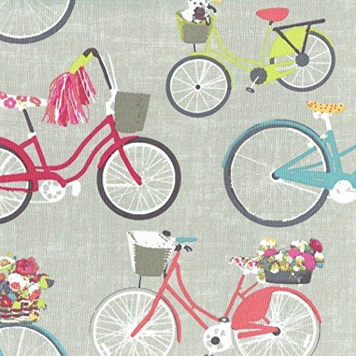 Tela de algodón estampada 'Las bicicletas más bellas de la ciudad' - rosa coral, denim azul, rojo, verde anis, amarillo, rosa, gris y blanco - 100% algodón suave - ancho: 160 cm (por metro lin