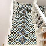 Area-Rugs Haizhen Set mit 7 Stück Vintage bedrucktes Muster Stufenmatten Massivholz selbstklebend Treppenteppich, rutschfeste Matte, maschinenwaschbar, 65 x 24 x 3 cm, 75 x 24 x 3 cm, 8, 75*24*3CM