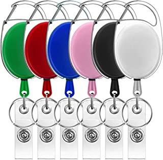 Retractable Badge Holder, Cridoz 6 Pack Retractable Keychain Badge Reel Clip ID Badge Card Holder Retractable, Assorted Colors