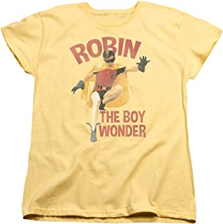 55324e57 Batman Classic TV DC Comics Robin Boy Wonder Women's T-Shirt Tee Gray
