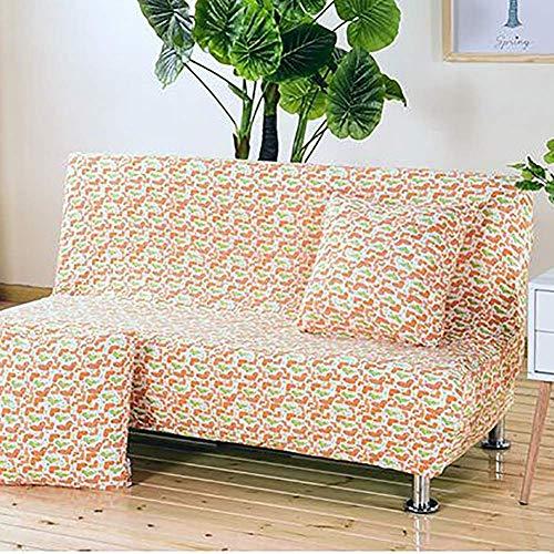 GWFVA Small stretch polyester bankovertrek zonder armleuningen en bloemmotief met beschermhoes voor opklapbare bank zonder armleuningen (160-190CM)