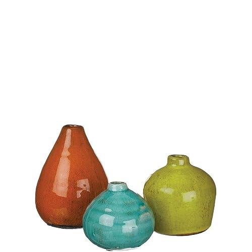 Sullivans Ceramic Vase Set, Various Sizes, Aqua, Orange, Green, Set Of