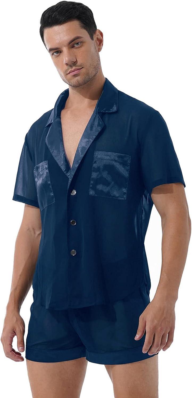 MSemis Men's Chiffon Satin Pajamas Set Sheer See-Through Button-Down Shirt Lounge Shorts Sleepwear
