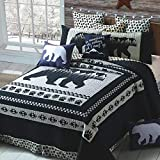 Quilt Bedding Set in King by Virah Bella - Moon Bear Printed Lightweight Reversible Quilt with 2 Matching Pillow Shams - Cozy & Beautiful Lodge-Themed Bedding