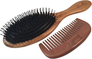 Best Boar Bristle Hair Brush Set for Women and Men - Wood Comb and Hemp Travel Bag - Perfect Brushes for Medium to Thick Hair