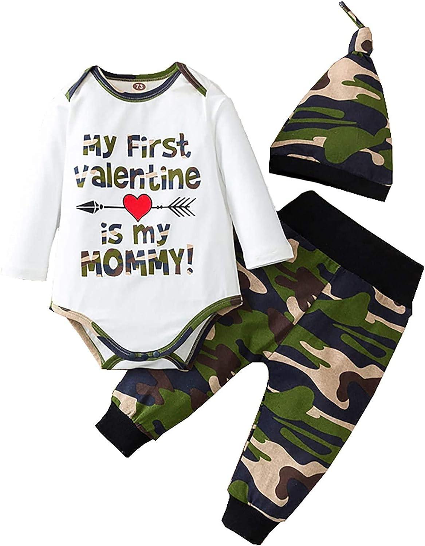 Newborn Toddler Baby Boy Valentine 3Pcs Clothes Set Letter Long Sleeve Romper Top+Camo Pants Leggings Hat Outfit