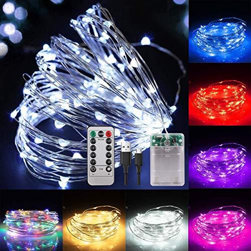 8M 80 Led Lichterkette mit Fernbedienung,Batteriekasten und USB,16 Farben 8 verschiedenen Lichteffekte,Wasserdichte lichterketten für zimmer,Außen,Hochzeit,Haus,Party,Halloween