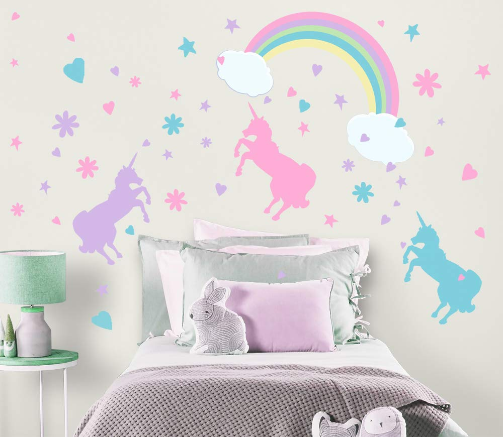 13.8 x 23.6 inches Size HU SHA Unicorn Wall Stickers Removable Unicorn Wall Decal Vinyl Wall Decals for Boys Girls Kids Bedroom Home D/écor