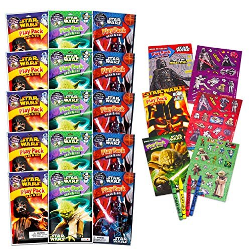 Star Wars Party Favors Set of 15 Kids Play Packs Fun Coloring Book Crayons Stickers (Star Wars Party Supplies for Kids Birthday)