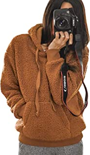 2019 Winter Women's Fleece Hoodies Sweatshirts Long Sleeves Shaggy Pullovers with Pockets Short Tops