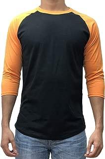 Men's Plain Raglan Baseball Tee T-Shirt Unisex 3/4 Sleeve Casual Athletic Performance Jersey Shirt (24+ Colors)