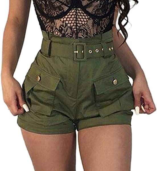 Wodceeke Plus Size Trousers Summer Pockets Wide Leg Green Shorts Dungarees Overalls With Pocket Belt