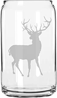 Deer Buck Hunting Style Hand Made Etched Glass Can 16 oz