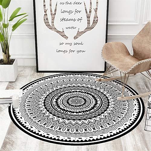 DHHY Polyester Teppich Runde Karikatur Druck Und Färben Geometrische rutschfeste Matte Home Schlafzimmer Wohnzimmer Teppich