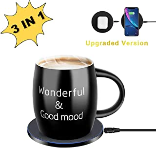 Mug Warmer, Coffee Mug Warmer with Wireless Charger (3 in 1), Wireless Charging, Constant Temperature for Keeping Warm (about 122°F/50°C),Best Gift Idea, Office/Home Use Electric Cup Beverage Plate,Water,Cocoa,Milk