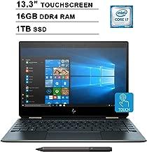 2019 HP Newest Spectre x360 13.3 Inch 4K Touchscreen 2-in-1 Laptop (Intel Quad Core i7-8565U 4.60 GHz, 16GB DDR4 RAM, 1TB PCIe SSD, Bluetooth,Bang & Olufsen, Windows 10) (Blue)