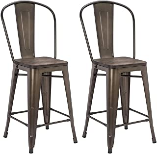 MELLCOM 24 Inch Bar Stools with Bucket Back,Indoor Outdoor Counter Height Stool,Metal Bar Chairs-Set of 4 (Set of 4)