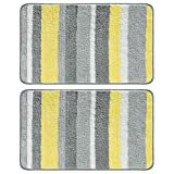 mDesign Soft Microfiber Polyester Non-Slip Spa Mat, Plush Water Absorbent Accent Rug for Bathroom Vanity, Bathtub/Shower - Machine Washable, Striped Design, 34' x 21' - 2 Pack - Gray/Yellow