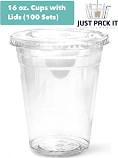 [100 Sets - 16 oz. With Lids] PREMIUM Plastic Cups With Flat Lids - Ice Coffee Juice Smoothie Clear Disposable Recyclable Cups | For Iced, Cold, Frozen, Cool or Room Temperature Beverages